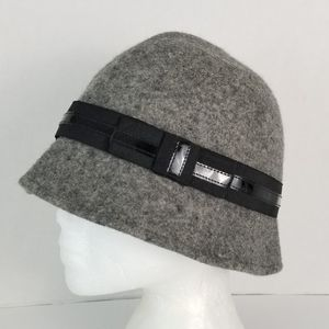 Expression Wool Cloche Hat Dark Gray Black Band